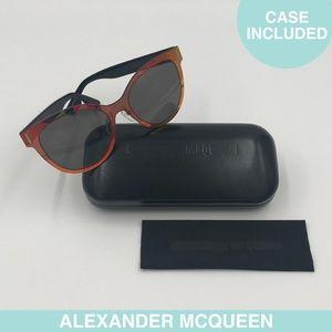 Auth Alexander McQueen mirrored sunglasses + case